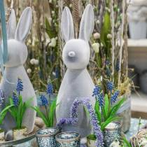 Dekorativ bunny grå flokket 47cm påskebunny dekoration påske