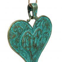 Dekorativt hjerte til hængende metal 6stk