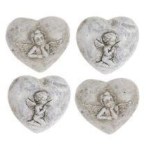 Mini dekorative hjerter med engle 4cm grå 8stk