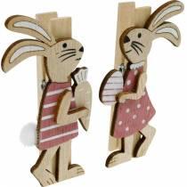 Dekorative klip kaniner påskeharer lyserødt, hvidt træ påskedekoration 4stk