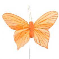 Dekorativ sommerfugl orange 12stk