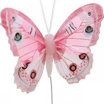 Dekorative sommerfugle lyserød fjer sommerfugl på tråd 7,5 cm 6stk
