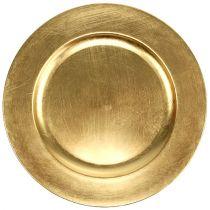 Dekorativ plade guld Ø28cm