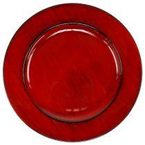 Dekorativ plade plast Ø28cm rød-sort