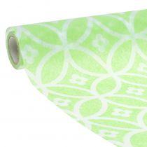 Dekorativt båndbånd med blomster lysegrøn 30 cm x 300 cm