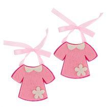Fødselsdekoration filt kjole lyserød 7 cm 20stk