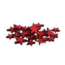 Spredte træstjerner røde 3-5cm 72stk