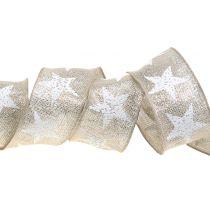 Julebånd med stjerne mønster natur, sølv 40mm 15m