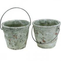 Dekorativ spand, keramik til plantning, haven dekoration, plante spand antik optik Ø13,5cm H12cm 2stk