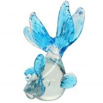 Dekorativ fisk lavet af klart glas, blå 15cm