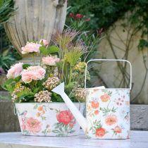 Dekorativ vandkande metal vintage roser sommerdekoration have H31,5cm
