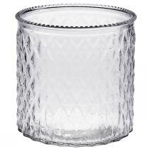 Dekorativt glas, lanterne med diamantmønster, glaskar Ø15cm H15cm