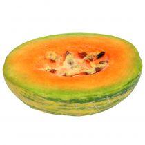 Dekorativ honningdugmelon halveret orange, grøn 13cm