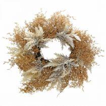 Dekorativ krans pampas græs kunstig creme, brun dørkrans Ø60cm