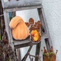 Dekorativt græskar buet orange flokket Kunstigt dekorativt græskar 18cm