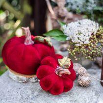 Deco græskar rød borddekoration efterårspolyresin 10,5 × 9cm 2stk