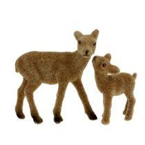 Deco hjorte 10cm med fawn brun flokket sæt