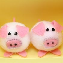 Dekorativt piggy pink 5 cm sæt