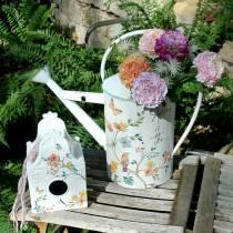 Dekorativt fuglehus med blomster metalhvid 25,5c × 16 × 13,5cm