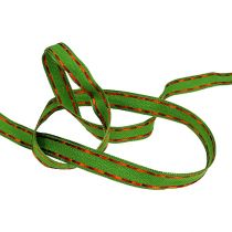 Dekorativt båndgrønt med trådkant 15mm 15m