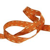 Dekorativt bånd orange med trådkant 15mm 15m