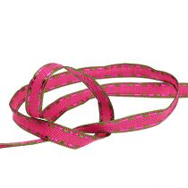 Dekorativ tape lyserød med trådkant 15mm 15m