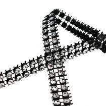 Dekorativ tape sort, sølv 10mm 4m