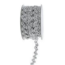 Dekorativt bånd skinnende sølv 10mm 9m