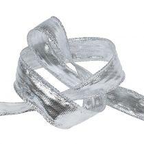 Dekorativt bånd sølv med trådkant 25m
