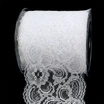 Dekorativt båndblonder 100mm 10m hvid