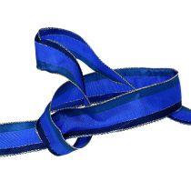 Dekorativt bånd med trådkant blå 25mm 20m