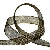 Dekorativt bånd med lurex striber sort 25mm 20m