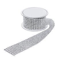 Dekorativt bånd med rhinestone-effekt sølv 40mm 2m
