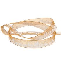 Dekorativ tape med vintermotiv orange-hvid 15mm 20m