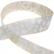 Deco bånd med sommerfugle brunt 25mm stofbånd gavebånd 20m
