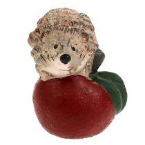 Dekorativ figur pindsvin på æble 7,5 cm keramik