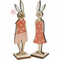 Dekorativ figur Påskeharen orange, hvid kanin påske dekoration 6stk