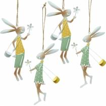 Dekorative figurer par kaniner, metal dekoration, påske kaniner at hænge op, forår dekoration 4stk