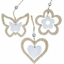 Dekorationsbøjle hjerte blomst sommerfugl natur, sølvtræ dekoration 6stk