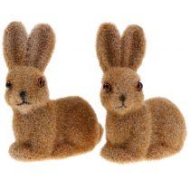 Dekorativ bunny flokbrun 8,5 cm 6stk