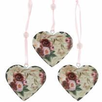 Dekorative hjertepæoner nostalgisk metalhjerte til at hænge 6stk