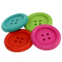 Dekorative knapper lavet af træ, forskellige farver Ø2,5 cm 72p