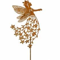 Dekorativ prop blomsteralv, forår, metal dekoration, fe på en pind, patina