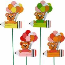 Dekorativ prop pen med bamse og balloner blomsterknap sommerdekoration børn 16stk