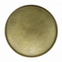 Dekorativ plade ler Ø20cm guld