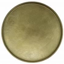 Dekorativ plade ler Ø30cm guld