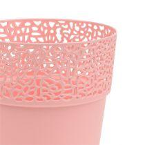 Dekorativ gryde plast lyserød Ø13cm H13.5cm 1p