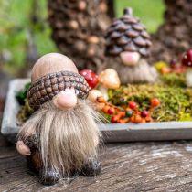 Dekorative gnome keramiske kegler og agern Sort H10,5 / 12cm 4stk