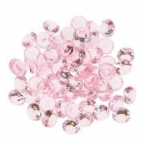 Dekorative sten diamant akryl lyserosa Ø1.2cm 175g til fødselsdagsdekoration