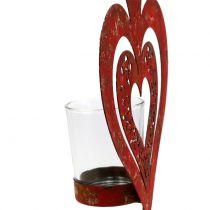 Dekorativt hjerte med vindlys H26cm